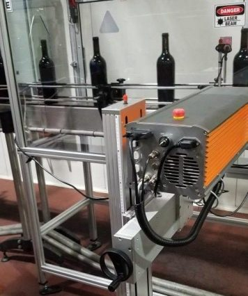 Laser printing onto wine bottles